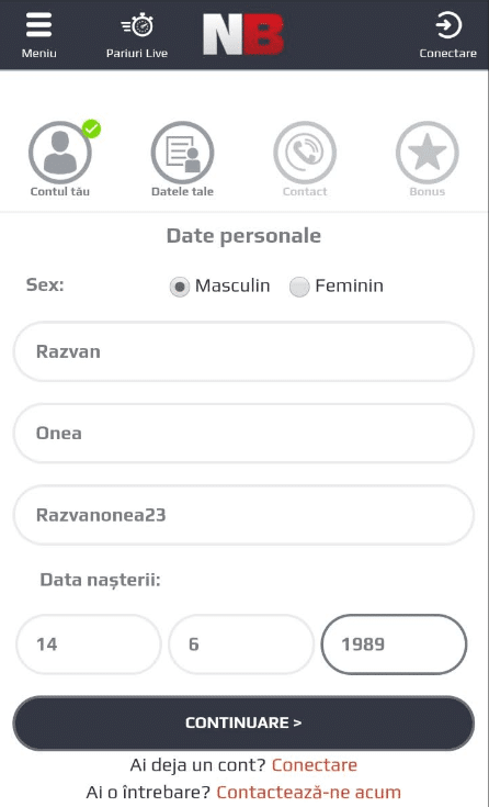 Date Personale Cont Netbet