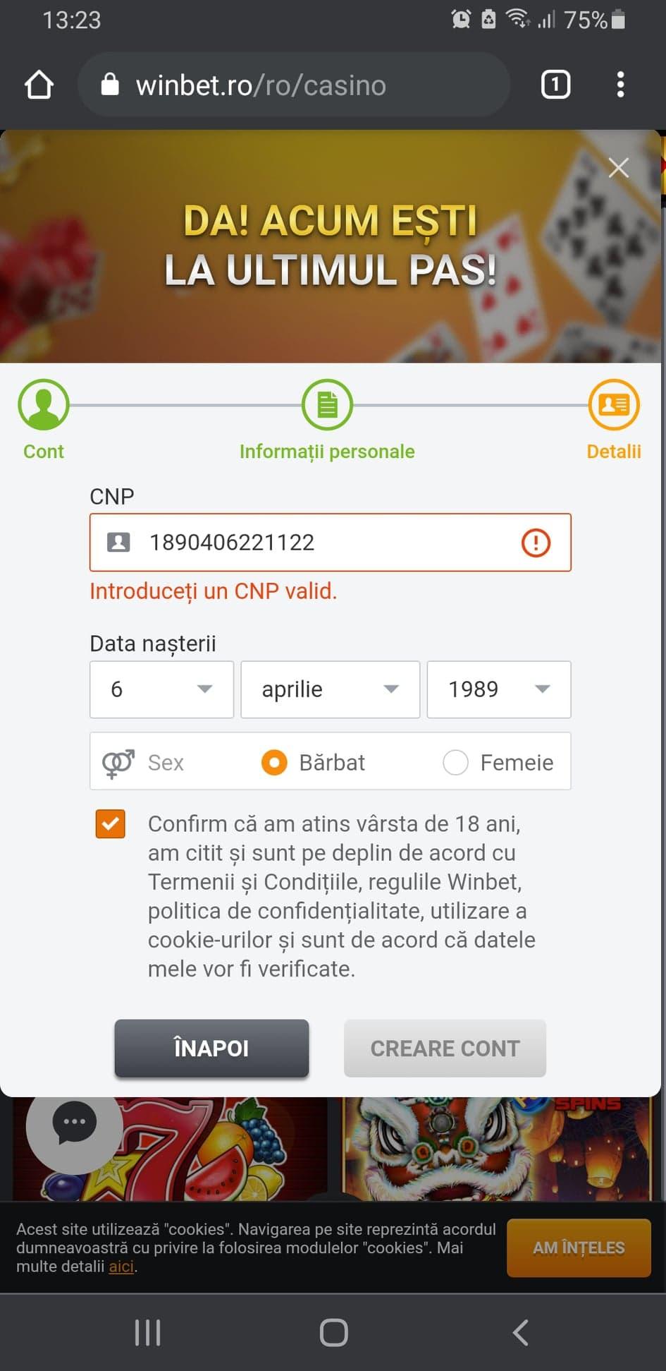 Deschidere Cont La Winbet Mobil