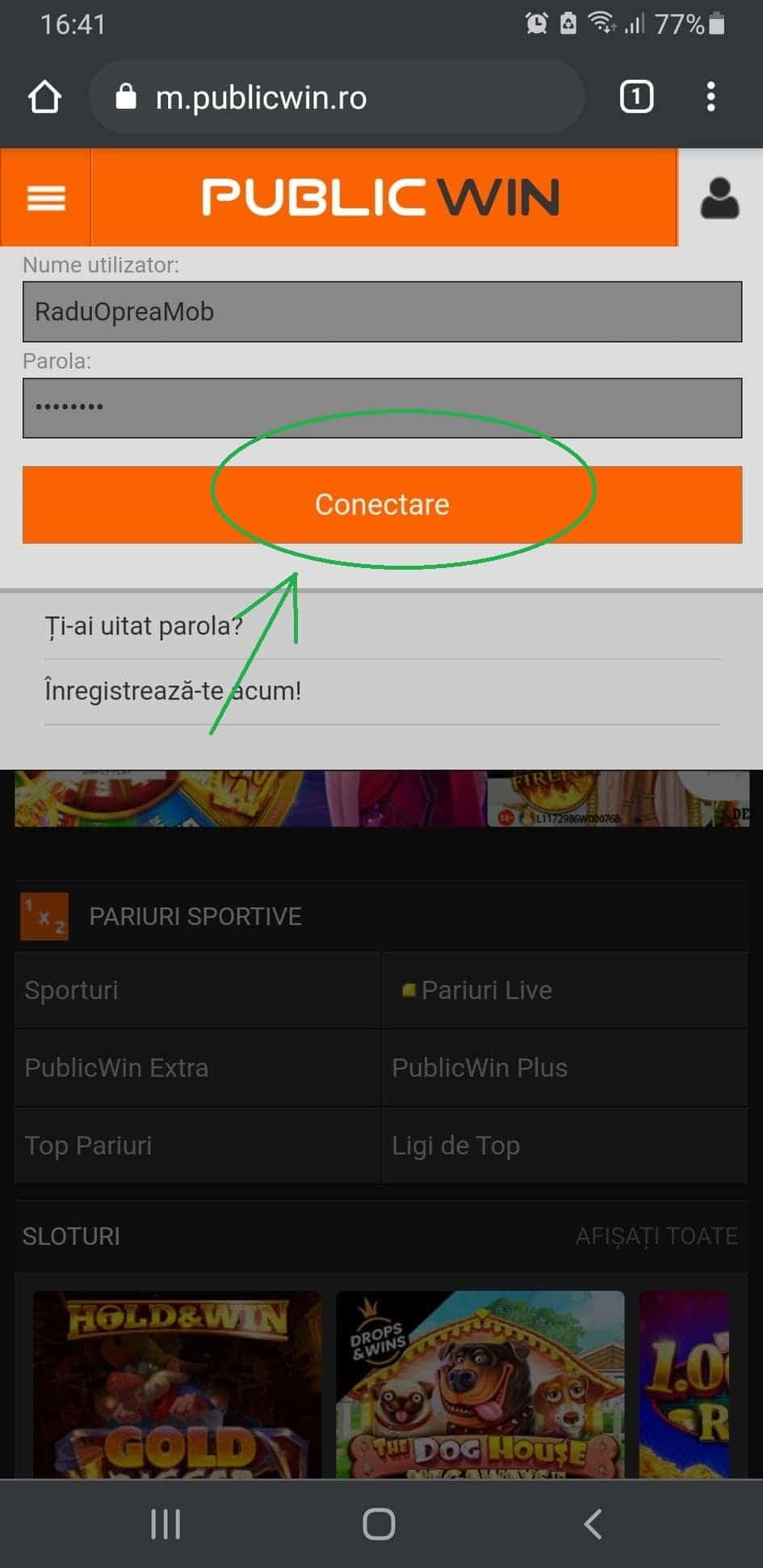 conectare publicwin mobil