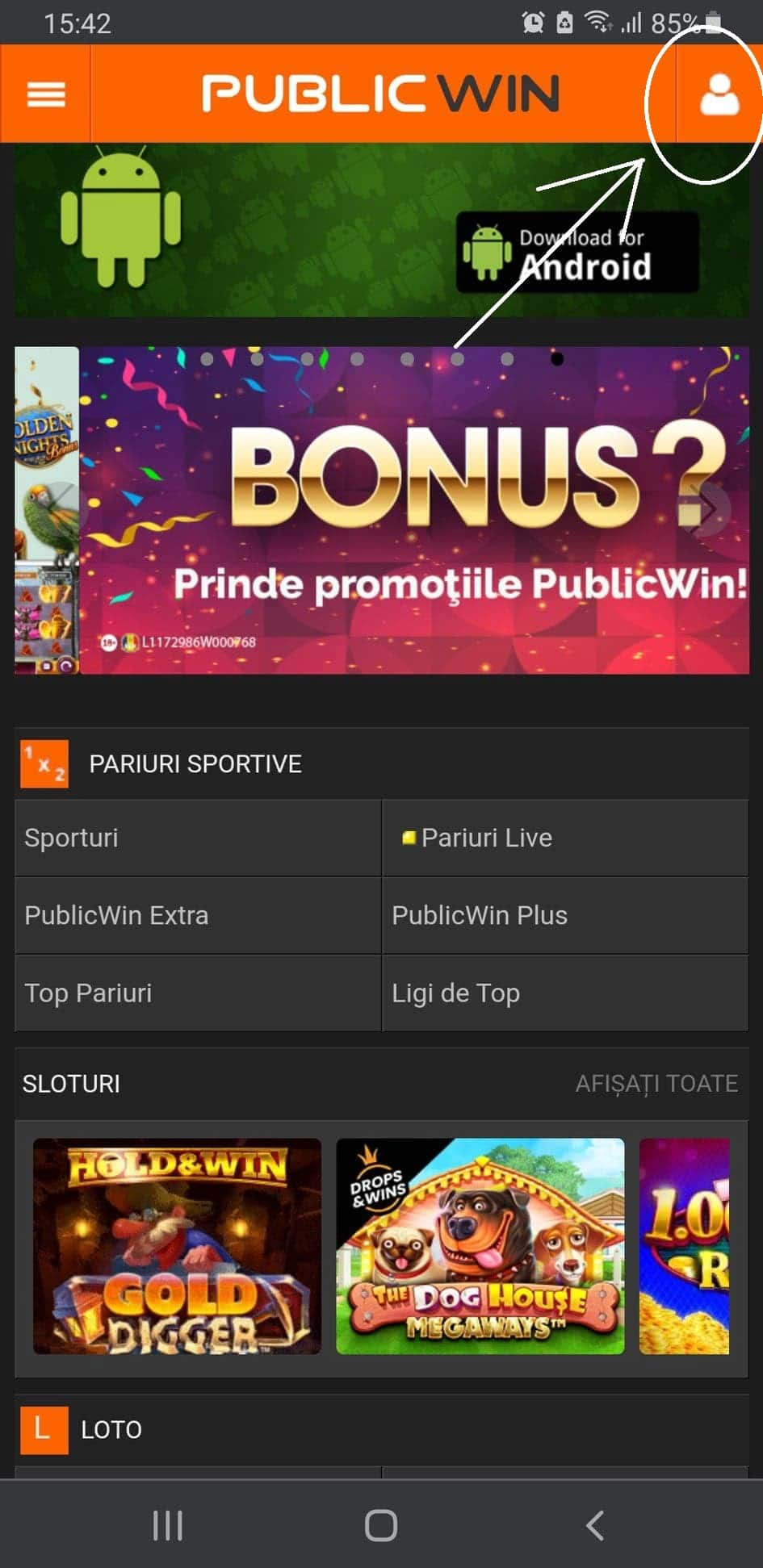 creare cont publicwin mobil